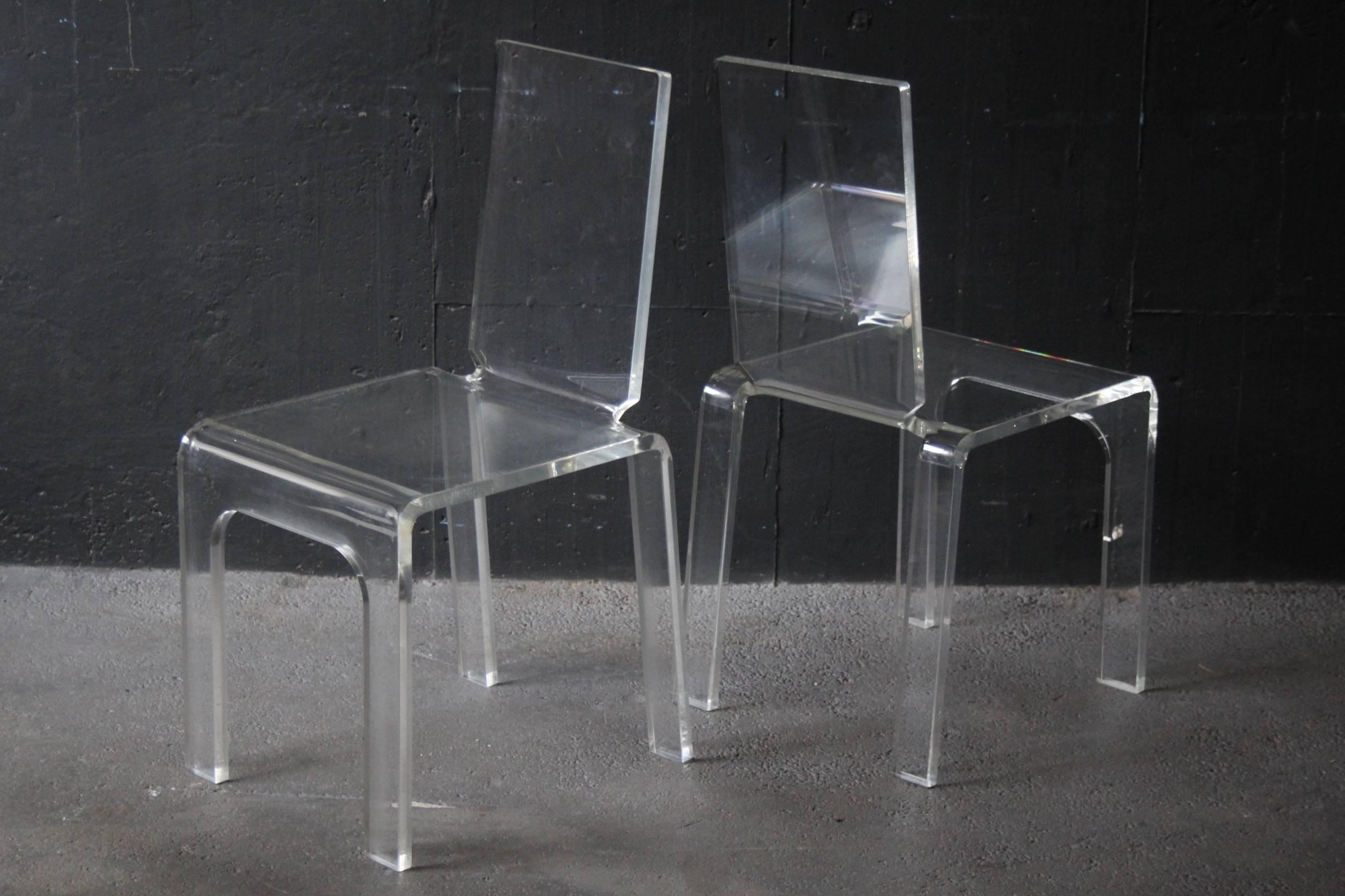 Plexiglass Furniture. Four Plexiglass Chairs. Furniture N