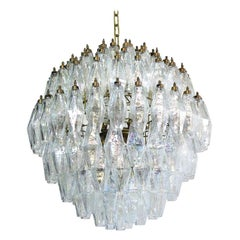 Four Poliedri Chandelier, 140 Iridescent Glass, Carlo Scarpa Style, Murano