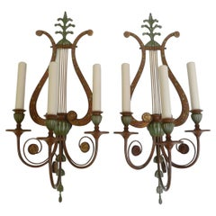Four Polychrome Lyre form Sconces by Sterling Bronze Co. N.Y.