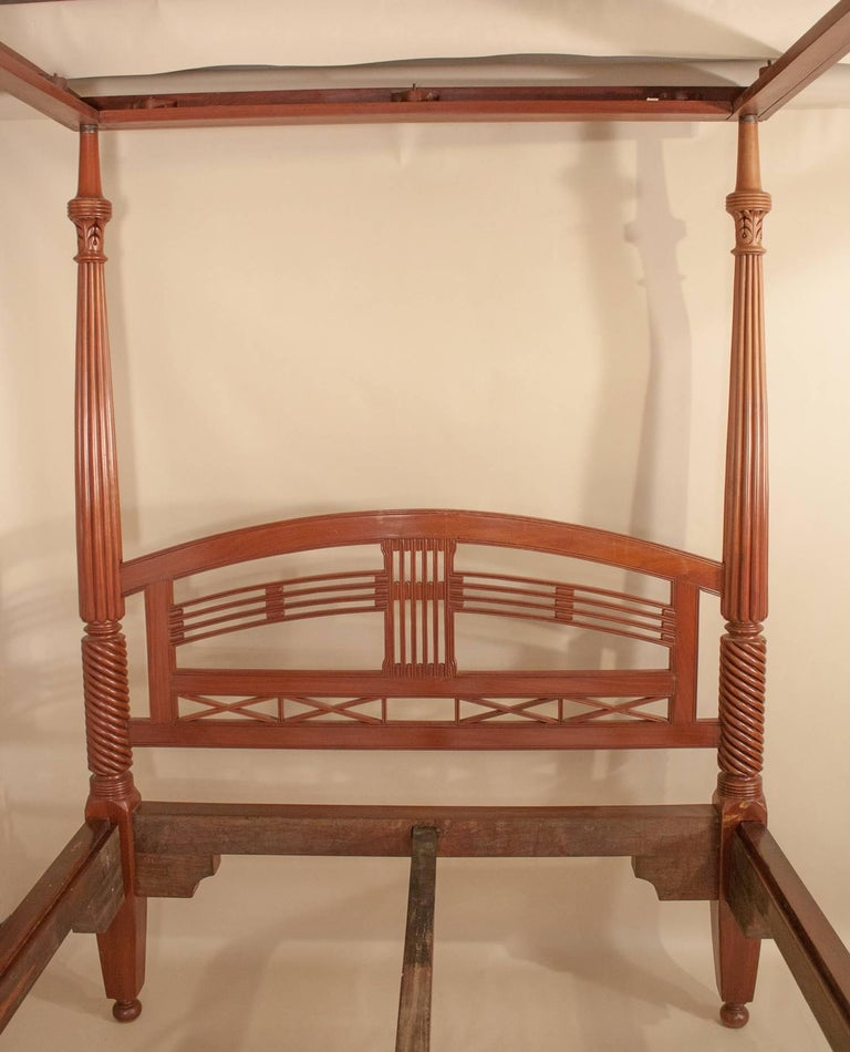Four Post Mahogany Canopy Bed From British India For Sale