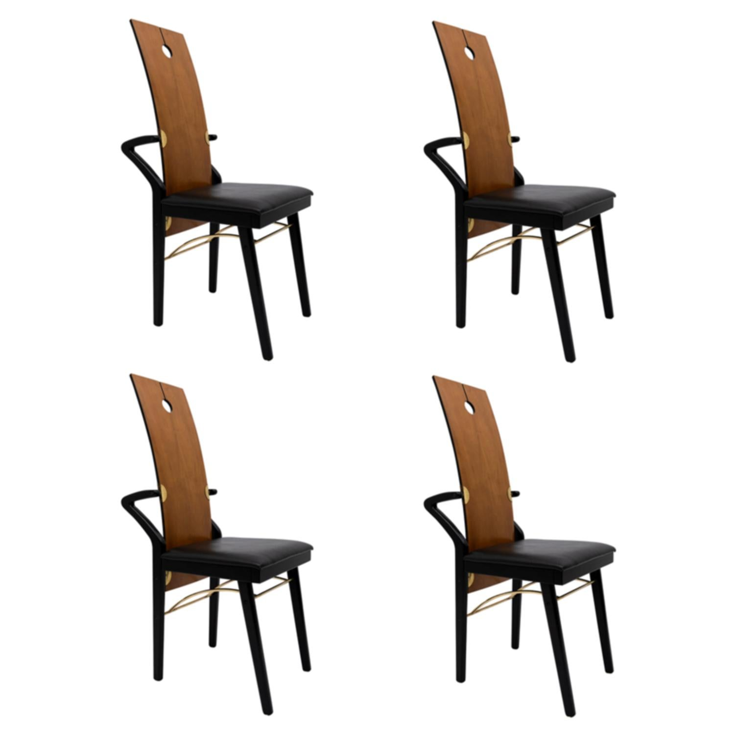Four Post-Modern Italian Dining Chairs by Pierre Cardin, 1980s