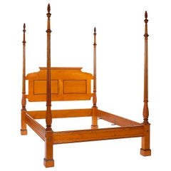 Four Poster Byron Bed with Carved Posts, Panel Headboard and Flame Finials