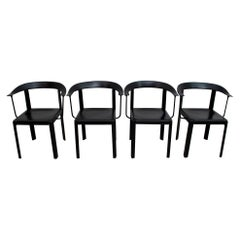 Four Postmodern Italian Black Leather Dinning Chairs, 1980s