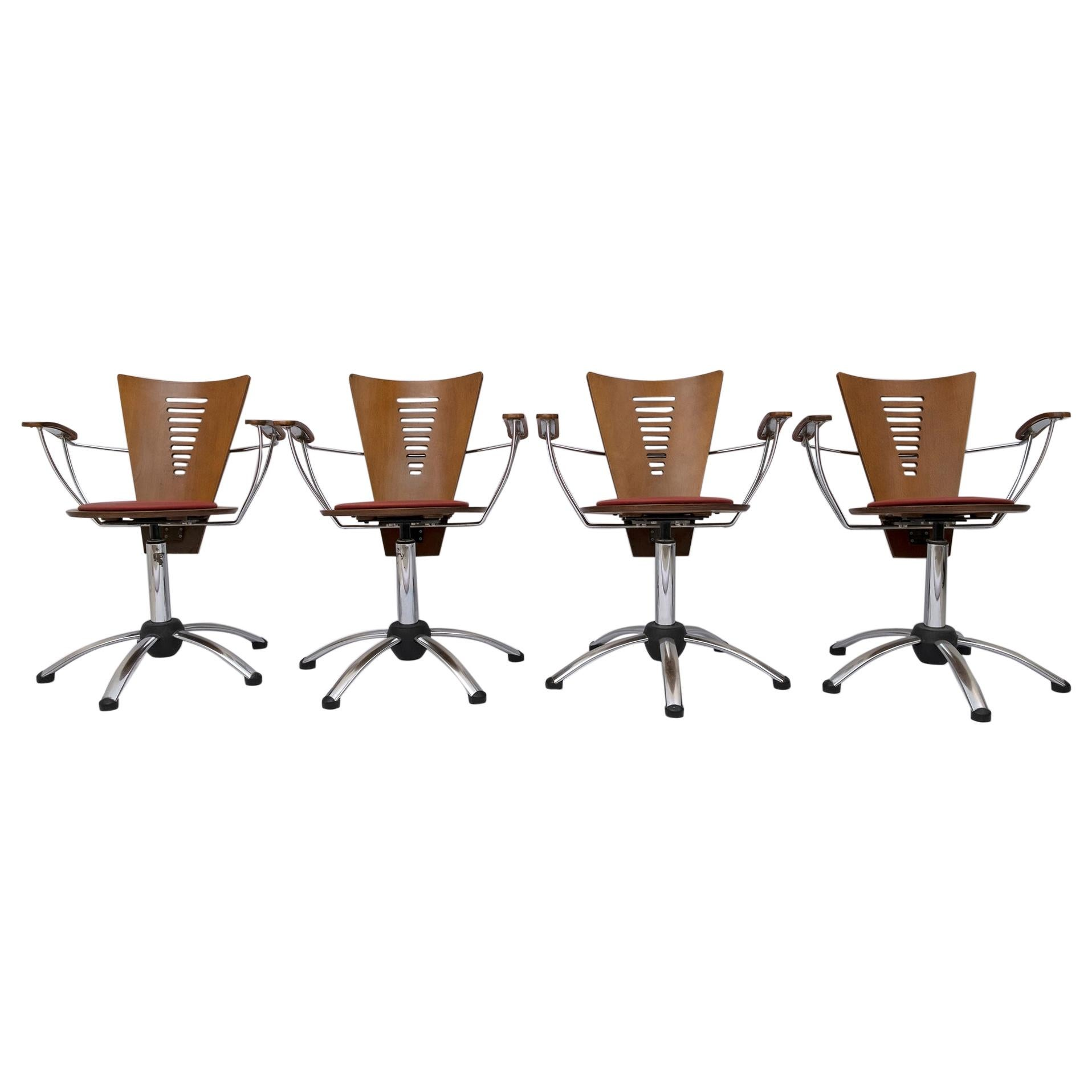 Four Postmodern Italian Swivel Chairs Curved Wood and Chromed Metal, 1980s