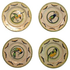 Four Primavera French Art Deco Period Hand-Painted Plates with Bird Images