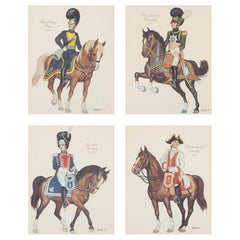 Four Prints of Soldiers on Horseback in Brass Frames