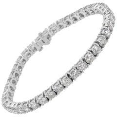 Four Prong Diamond Tennis Bracelet in 14 Karat White Gold 8.96 Carat