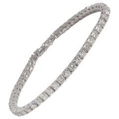 Four Prong Diamond Tennis Bracelet in 14 Karat White Gold 3.60 Carat