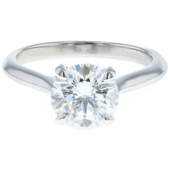 Four Prong Swooping 1.51 Carat Diamond Engagement Ring in Platinum GIA