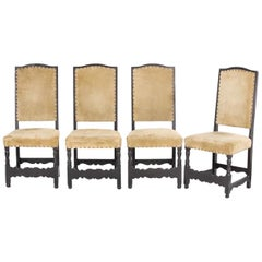Four Provincial Post Chairs, Alpine, 18th Century Solid Coniferous Wood