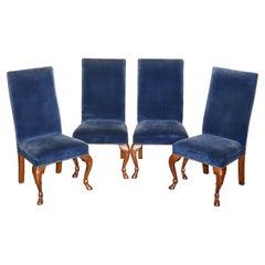 Four Ralph Lauren High Back Dining Chairs Napoleonic Blue Velvet 4