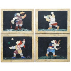 Four Rare Antique Italian Pietra Dura Marble Tiles Wall Plaque Fire Eater Jester