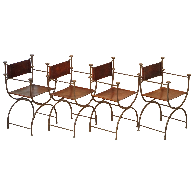 Four Rare Iron Brown Leather Italian Savonarola Directors Armchairs Part Suite 4