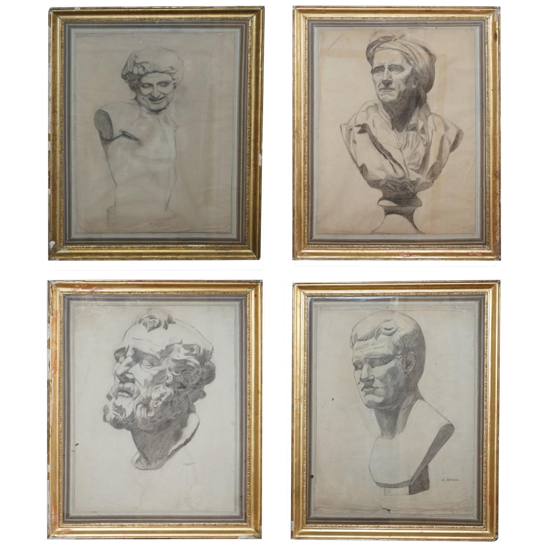Four Rare Italian School 19th Century Old Master Sketches Drawings by F Mazzoli
