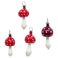 Four Rare Toadstool Mushroom Christmas Ornaments Vintage, German, 1930s