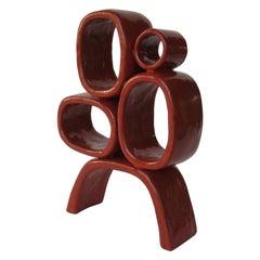 Four Red Rings on Angled Legs TOTEM, Glazed Hand Built Ceramic Stoneware