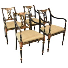 Four Regency Beaufort Armchairs by Southwood Furniture Co. Black Lacquer