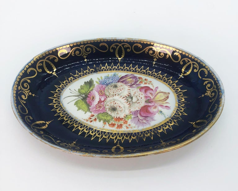 English Four Regency Hand Painted Porcelain Dishes by Coalport, circa 1805 For Sale