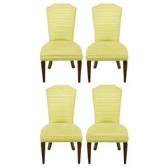 Four Regency Side Chairs In Apple Green & White Flamestitch