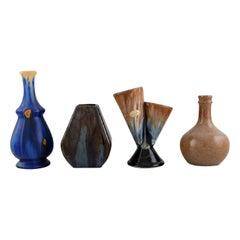 Four Retro Vases in Glazed Ceramics, Belgium, 1960s-1970s