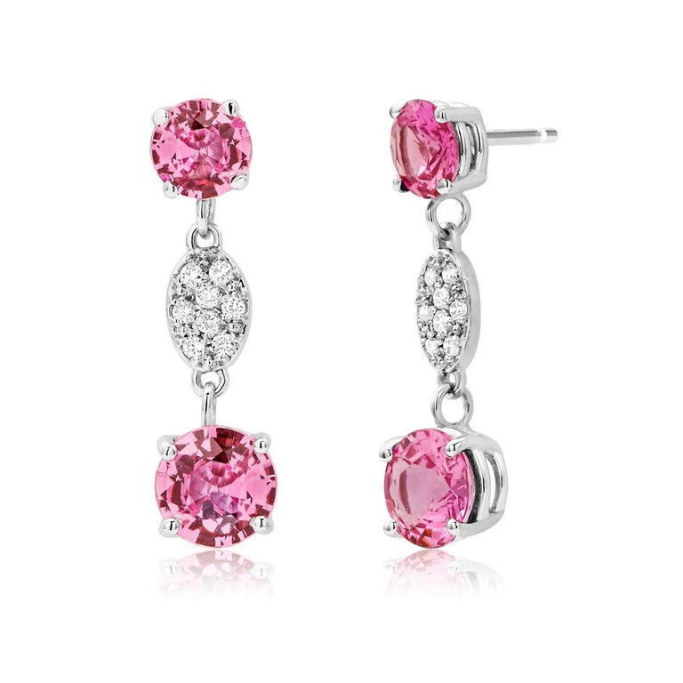 Contemporary OGI Round Pink Ceylon Sapphires and Diamond White Gold Drop Earrings For Sale