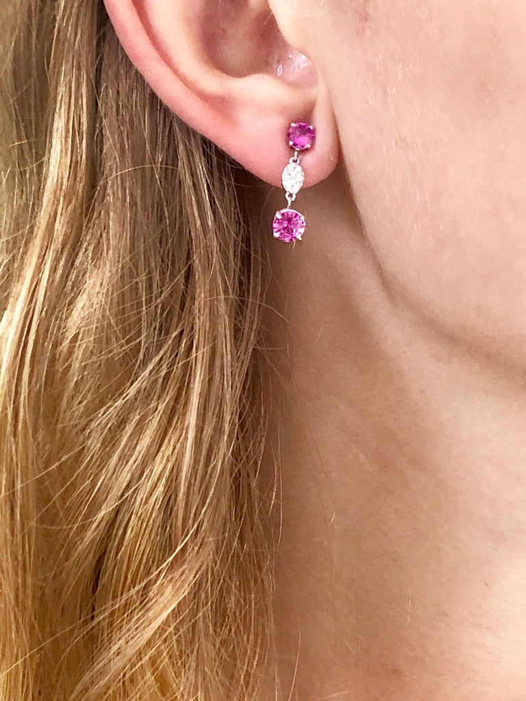 Round Cut OGI Round Pink Ceylon Sapphires and Diamond White Gold Drop Earrings For Sale