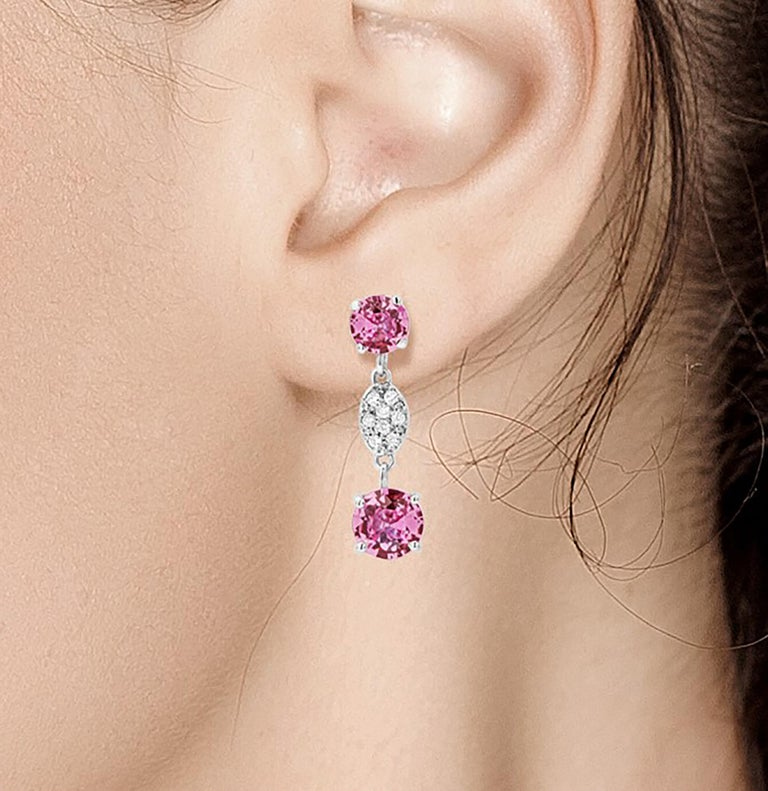 OGI Round Pink Ceylon Sapphires and Diamond White Gold Drop Earrings In New Condition For Sale In New York, NY
