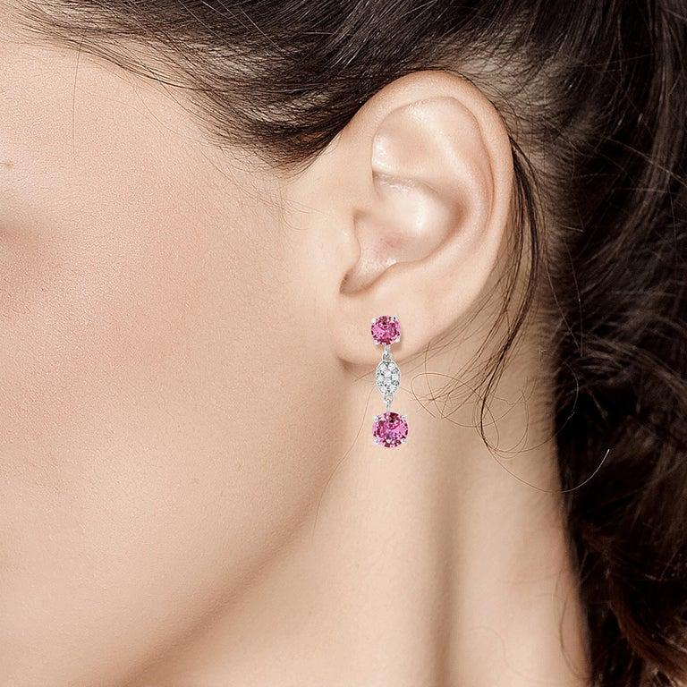 Women's OGI Round Pink Ceylon Sapphires and Diamond White Gold Drop Earrings For Sale