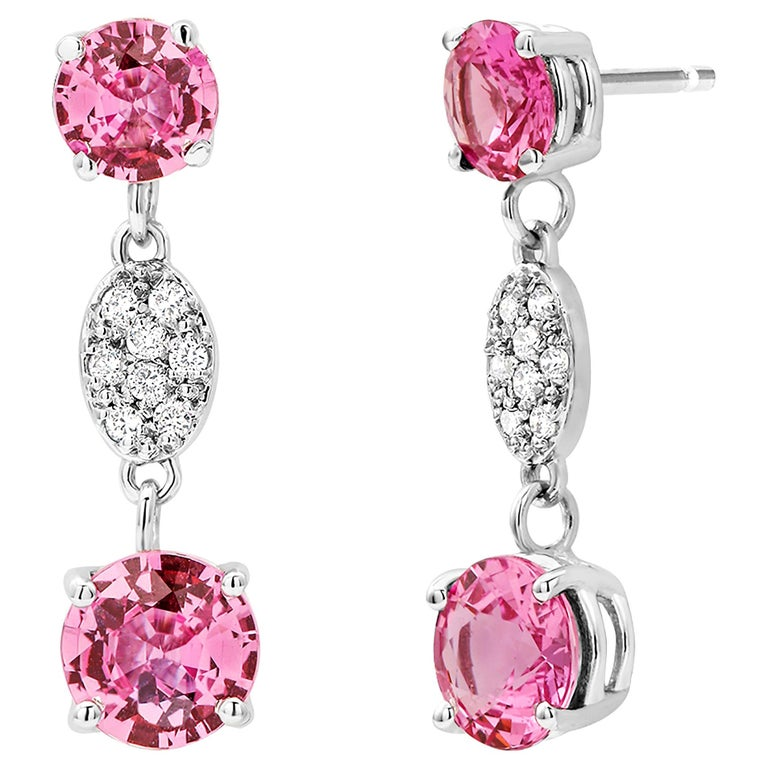 OGI Round Pink Ceylon Sapphires and Diamond White Gold Drop Earrings For Sale