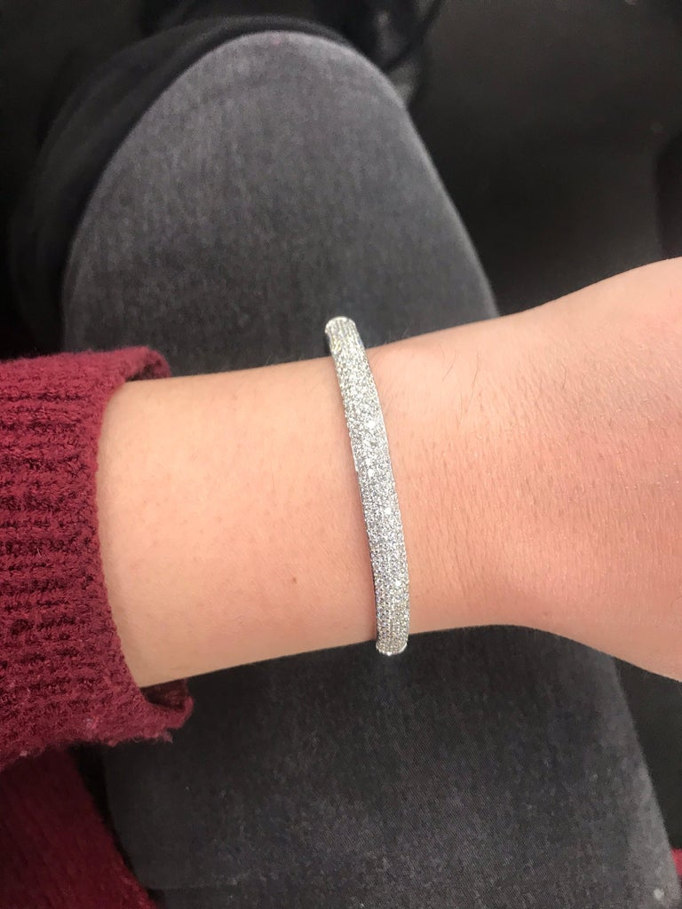 18K White gold bangle featuring 172 round brilliants weighing 2.26 carats.  Great to stack! Color G-H Clarity SI
