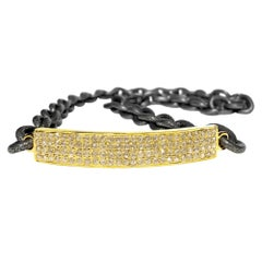 Four Row Diamond Gold Curved Bar Textured Steel Chain Wrap Bracelet