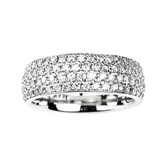 Four-Row Pave Set Diamond Band in White Gold