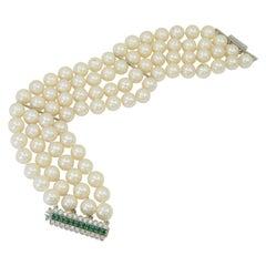 Four Row Pearl, Diamond Emerald Bracelet