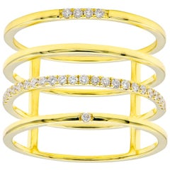 Four-Row with Diamonds Fashion Ring in Yellow Gold