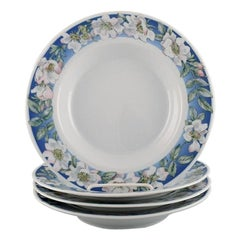 Four Royal Copenhagen White Rose Deep Plates with Blue Border and White Flowers