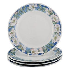 Four Royal Copenhagen White Rose Dinner Plates with Blue Border, White Flowers
