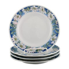 Four Royal Copenhagen White Rose Plates with Blue Border and White Flowers