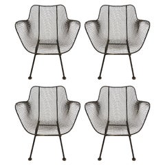 Four Russell Woodard Sculptura Metal Mesh Chair Armchairs Vintage Set Midcentury