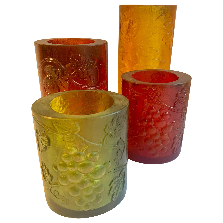 Four Sascha Brastoff Resin Candleholders