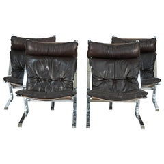Four Scandinavian Kengu Easy Chairs in Brown Leather by Solheim for Rykken