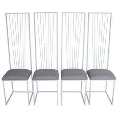 Four Sculptural High-Back Steel Chairs