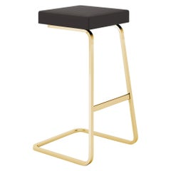 Four Seasons Barstool, Volo/Black Leather & Gold Base