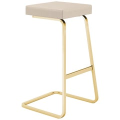 Four Seasons Barstool, Volo/Parchment Leather & Gold Base