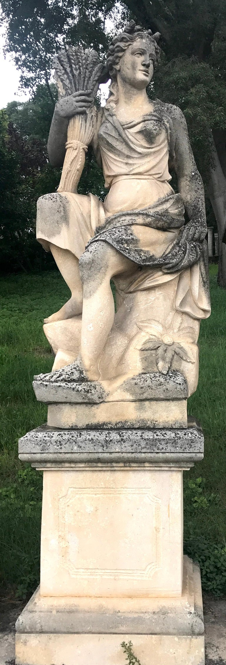 Neoclassical Four Seasons Extraordinary Italian Stone Sculptures For Sale