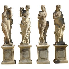 Four Seasons Statues, Handcrafted in Pure Limestone with Pedestals '4 Statues'