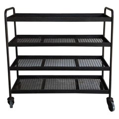 Four Shelves Industrial Iron Wheeled Trays, Different Sizes Available