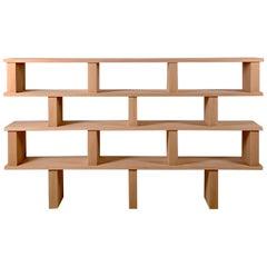 Four Shelves 'Verticale' Polished Oak Shelving Unit