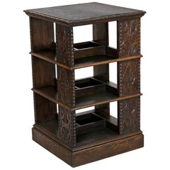 Four Sided Carved Oak English Bookstand