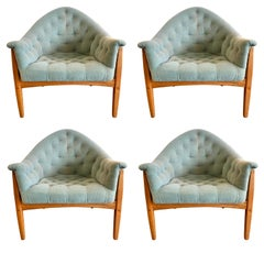 Four Signed Thayer Coggin by Milo Baughman Exposed Frame Lounge Chairs 1965