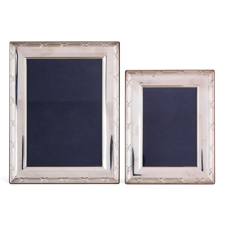 These elegant silver frames were made in 2007 by the Carrs Silver company in Sheffield, England. Carrs Silver was founded in 1977 by Ron Carrs and it is still in business today. The firm specialises in the production of luxury silver items,